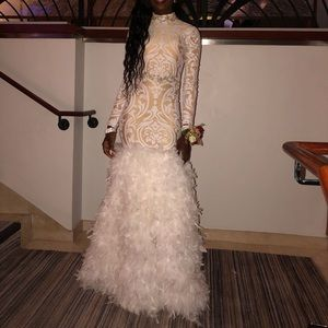 Long sleeve prom dress with feathers